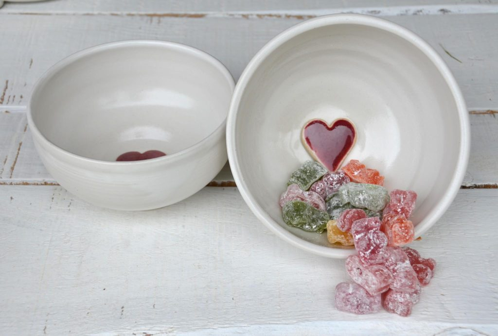 love heart bowls by by Elaine Wells - Potter