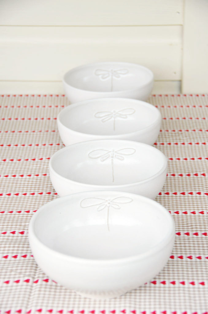 signature dragonfly bowls by Elaine Wells - Potter